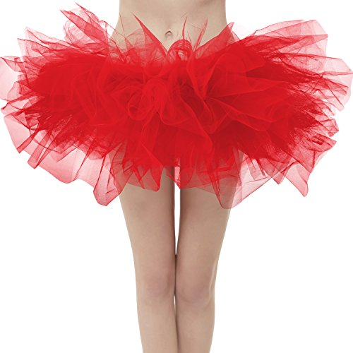 Dresstore Women's Vintage 5 Layered Tulle Tutu Puffy Ballet Bubble Skirt Red Regular Size -