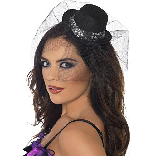 Smiffys Fever Mini Top Hat on Headband with Sequin Trim and Netting (Black Top Hat Headband)