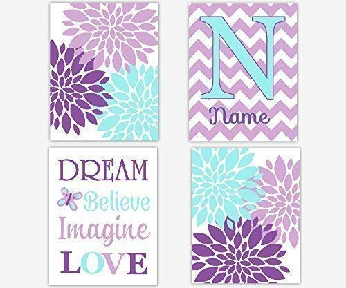 (Baby Girl Nursery Art Purple Lavender Aqua Teal Blue Girl Room Wall Decor Flower Burst Floral Dahlia Mums Art Personalized Monogram Name Dream Believe Imagine Love Quote SET OF 4 UNFRAMED PRINTS)
