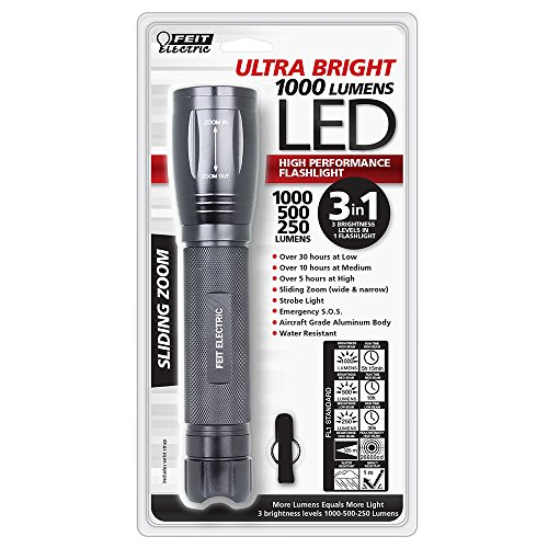 Feit Electric 72336 Ultra Bright 1000/500/250 Lumen 3-Cell D LED Flashlight, Black
