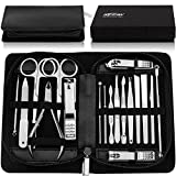 KEZAY Manicure Pedicure Set 18 in 1,Stainless Steel Grooming Kit Include Nail Clippers Set and Pedicure Tools with Best Leather Travel Case and Gift Box for Women Men or Family