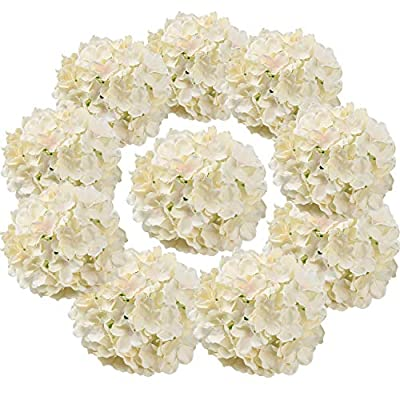Flojery Silk Hydrangea Heads Artificial Flowers Heads with Stems for Home Wedding Decor,Pack of 10