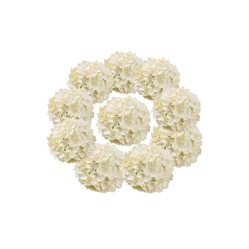 silk flower arrangements flojery silk hydrangea heads artificial flowers heads with stems for home wedding decor,pack of 10 (champagne)