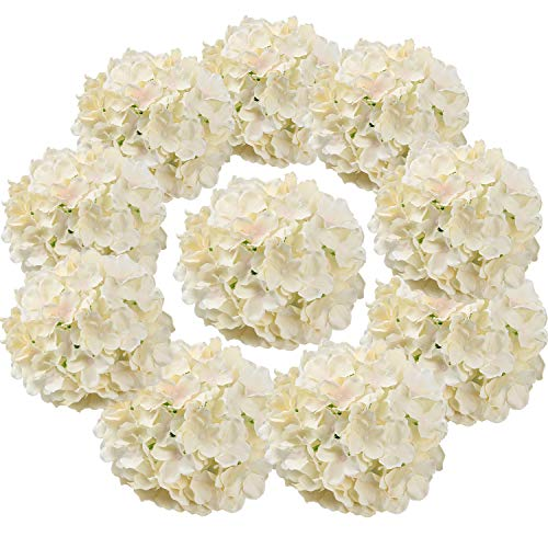 Flojery Silk Hydrangea Heads Artificial Flowers Heads with Stems for Home Wedding Decor,Pack of 10 (Champagne) (Silk Arrangement Flower Hydrangea)