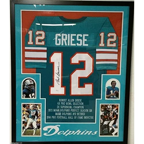 timeless design ecfca df0e0 Framed Bob Griese Autographed Miami Dolphins Stat Jersey JSA ...