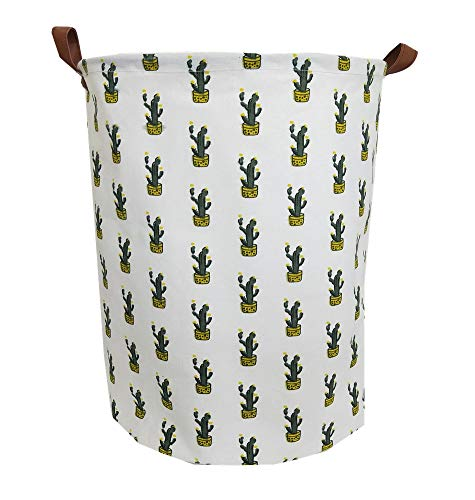 TIBAOLOVER 19.7Large Sized Waterproof Foldable Laundry Hamper Bucket,Bin Storage Organizer for Toy Collection,Canvas Storage Basket with Stylish Cactus Design?Green and Yellow?