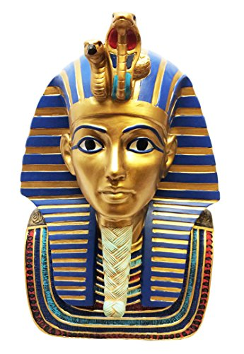 LARGE EGYPTIAN PHARAOH KING TUT BUST MASK STATUE TUTANKHAMUN FIGURINE - Polished Nickle Accents