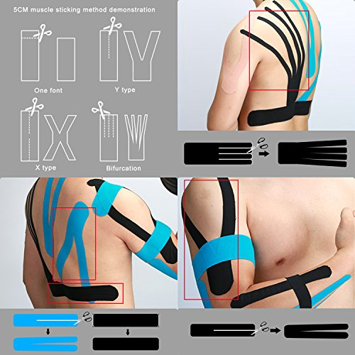 HQD Kinesiology Physiotherapy Sports Tape (3 Rolls Pack) Uncut 2'' x 16.4'' Therapeutic Sports Tape for Elbow and Knee Shoulder Elastic Stretch,Breathable,Relief Muscle,Waterproof by HQD DIRECT (Image #1)