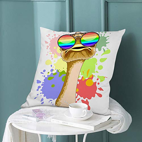 "oFloral Ostrich Throw Pillow Cover Ostrich Wearing Rainbow Sunglasses Wild Animals Decorative Square Pillow Case 18""X18"" Pillowcase Home Decor for Sofa Bedroom"