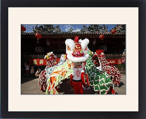 Framed Print of Lion dance performers, Chinese New Year, Quan Am Pagoda, Ho Chi Minh City