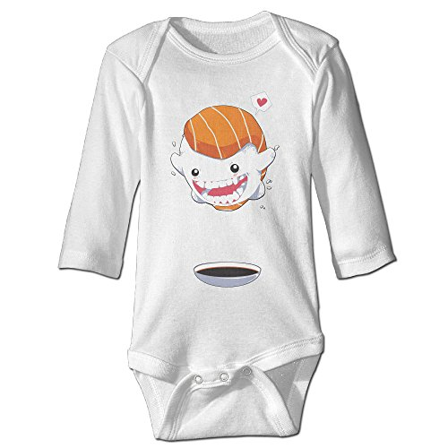 [Alexx Sushi Cannon Ball Kid Jumpsuit Bodysuit Long-sleeve Outfits White 12 Months] (Baby Sushi Costumes)