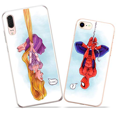 Wonder Wild Spiderman and Rapunzel Couple Case iPhone Xs Max X Xr 10 8 Plus 7 6s 6 SE 5s 5 TPU Clear Gift Apple Phone Cover Print Protective Double Pack Silicone Superhero Cartoon Characters Love ()