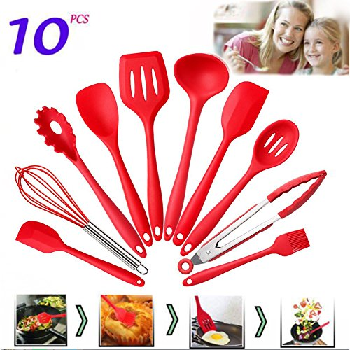 Feiuruhf 10 Pieces Silicone Cooking Utensils Sets Non-stick Heat Resistant Hygienic Kitchen Gadgets with Spoonula, brush, whisk,large and small spatula,ladle,slotted turner and spoon,tongs,pasta fork (Large Spoonula)