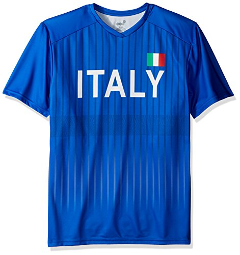 (Outerstuff World Cup Soccer Italy Mens -Federation Jersey Short Sleeve Tee, Royal, Medium)