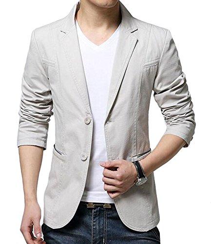 Peaked Lapel Jacket (Mens Slim Fit Single Breasted Peaked Lapel 2 Buttons Jacket Blazer (US Medium = Tag XXL, Beige))