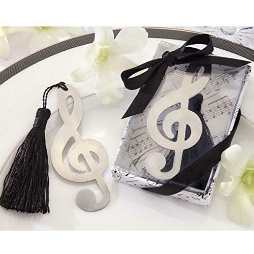 Silver Stainless Steel Bookmark With Tassels Wedding Christening Birthday Favor |Pattern - Music symbol|