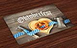 Lunarable Oktoberfest Place Mats Set of 4, Oktoberfest Beer Festival Cutlery Ribbon and Cutting Board on Restaurant Table, Washable Fabric Placemats for Dining Room Kitchen Table Decoration, Blue Gray