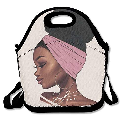 ef2013a70095 SARA NELL Neoprene Lunch Bag Black Art African American Tradutional Women  Lunch Tote Bags Lunch Backpack Lunchbox Handbag with Adjustable Shoulder ...