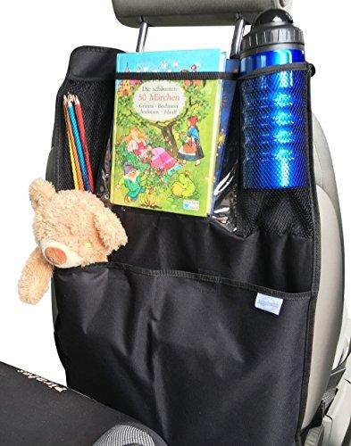 Von Eltern für Eltern! Sicherster Kinder Auto Organizer Rückenlehnenschutz mit großer Tasche gegen Dreck&Langeweile / tablet / Premium Qualität / schwarz