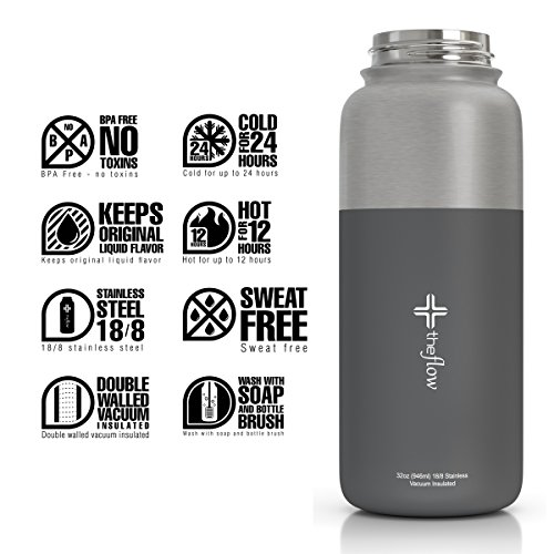 The Flow Stainless Steel Water Bottle, Double Walled/Vacuum Insulated - BPA/Toxin Free – Wide Mouth with Straw Lid (Stainless Grey)