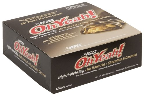 ISS Oh Yeah! Nutrition Bar, Chocolate and Caramel, 3-Ounce Bars, 12-Count