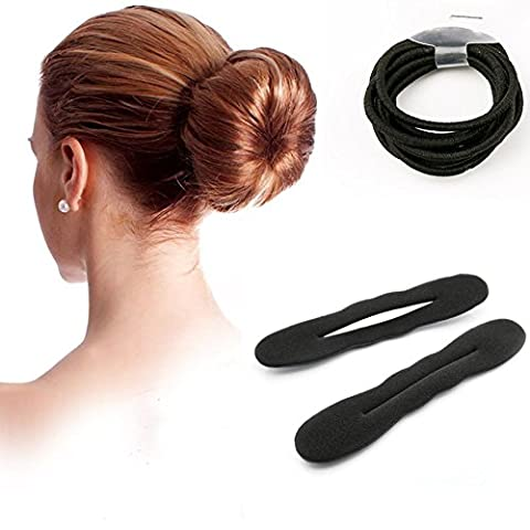 Ciaoed Sponge Hair Styling Bun Maker Twist Curler Tool Clip Donut Style Black Big Size Pack of 2 with 10 Hair Elastics Ropes