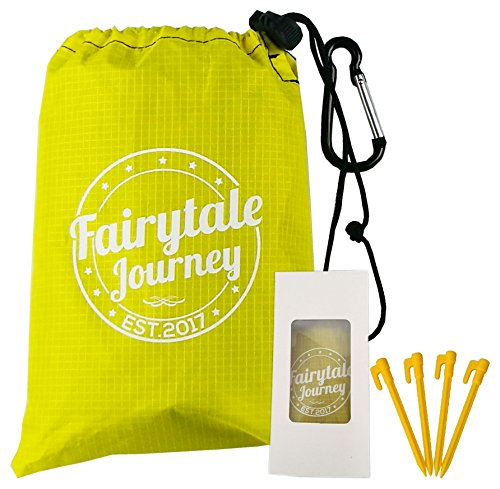 Fairytale Journey Waterproof Pocket Blanket Set, Compact Outdoor Blanket With 4 Stakes, Carabiner, Carry Bag, Unfolds To A Large Size (60x55 inches) Blanket Perfect For Picnics, Beach, Camping, Etc. (Fairy Tale Wool)