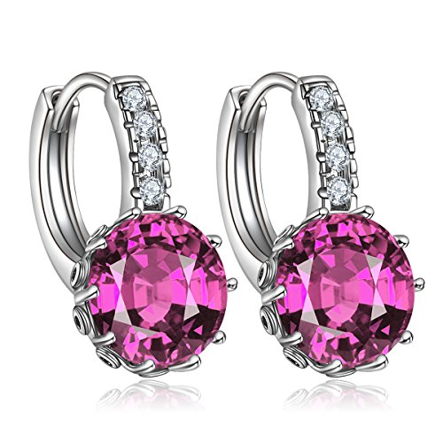 Forcolor Purple Round Cubic Zirconia Drop Earrings White Gold Plated