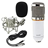 Ocr TM Professional Audio Condenser Microphone Music Recording Equipment with Shock Mount/3-Pin XLR Mic Cable White