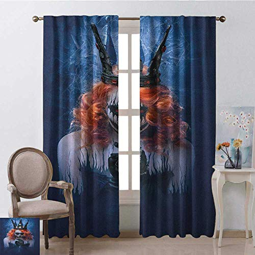 youpinnong Queen, Curtains Elegant, Queen of Death Scary Body Art Halloween Evil Face Bizarre Make Up Zombie, Curtains for Boys Room, W84 x L96 Inch, Navy Blue Orange Black ()