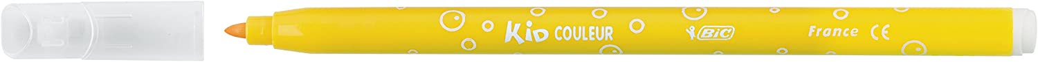 Cardboard Wallet of 12 BIC Kids Kid Couleur Felt Tip Colouring Pens Assorted Colours