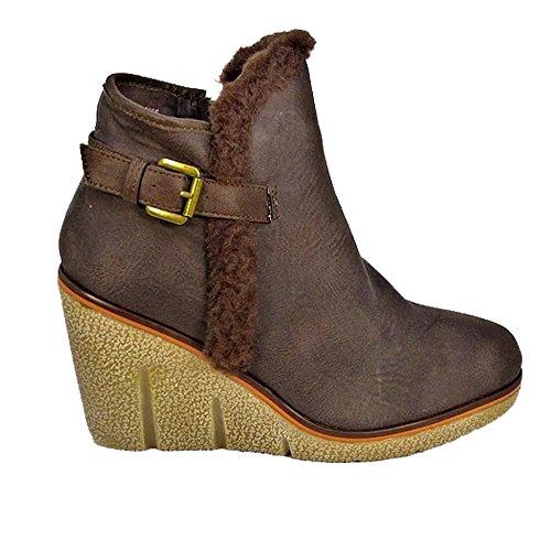 Ankle 786 K1706206 Brown Collar Wedge Ladies Zip Fur Snow Aaishaz Low Mid Heel Shoe Buckle Booties PwAxdPHqR