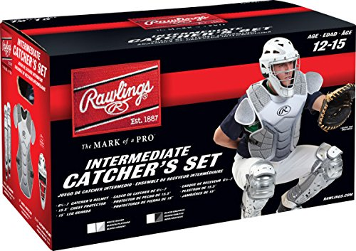 (Rawlings Sporting Goods VCSI-W/SIL Catcher Set Velo Series Protective Gear, White/Silver, Age 12-15)