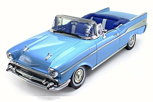 Motor Max 1957 Chevy Bel Air Convertible, Blue 73175 - 1/18 Scale Diecast Model Toy Car (Chevy Convertible Bel Air)