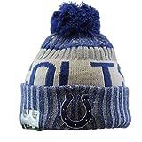 New Era Men's Nfl Sideline Bobble Knit England Patriots Beanie, Blue, One Size