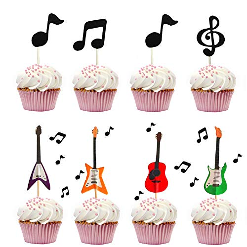 Guitar Cake Cupcake Decorative Cupcake Topper Music Notes Cupcake Toppers for Kids Birthday Party Themed Party Baby Shower (Set of 30) -