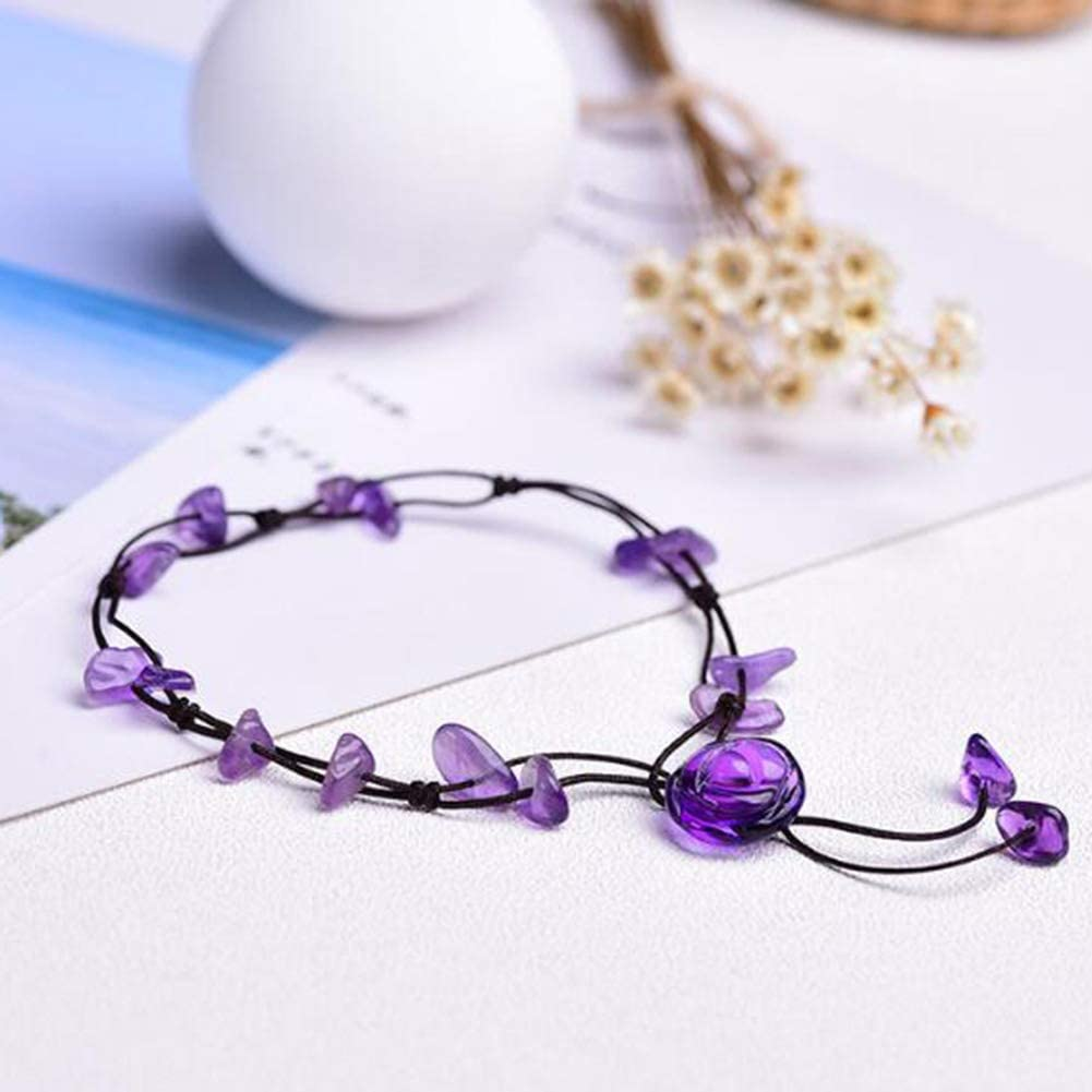 SERYNOW Fashion Handmade Braided Rope Anklet Natural Amethyst Flower Stone Beach Anklet for Women Girls