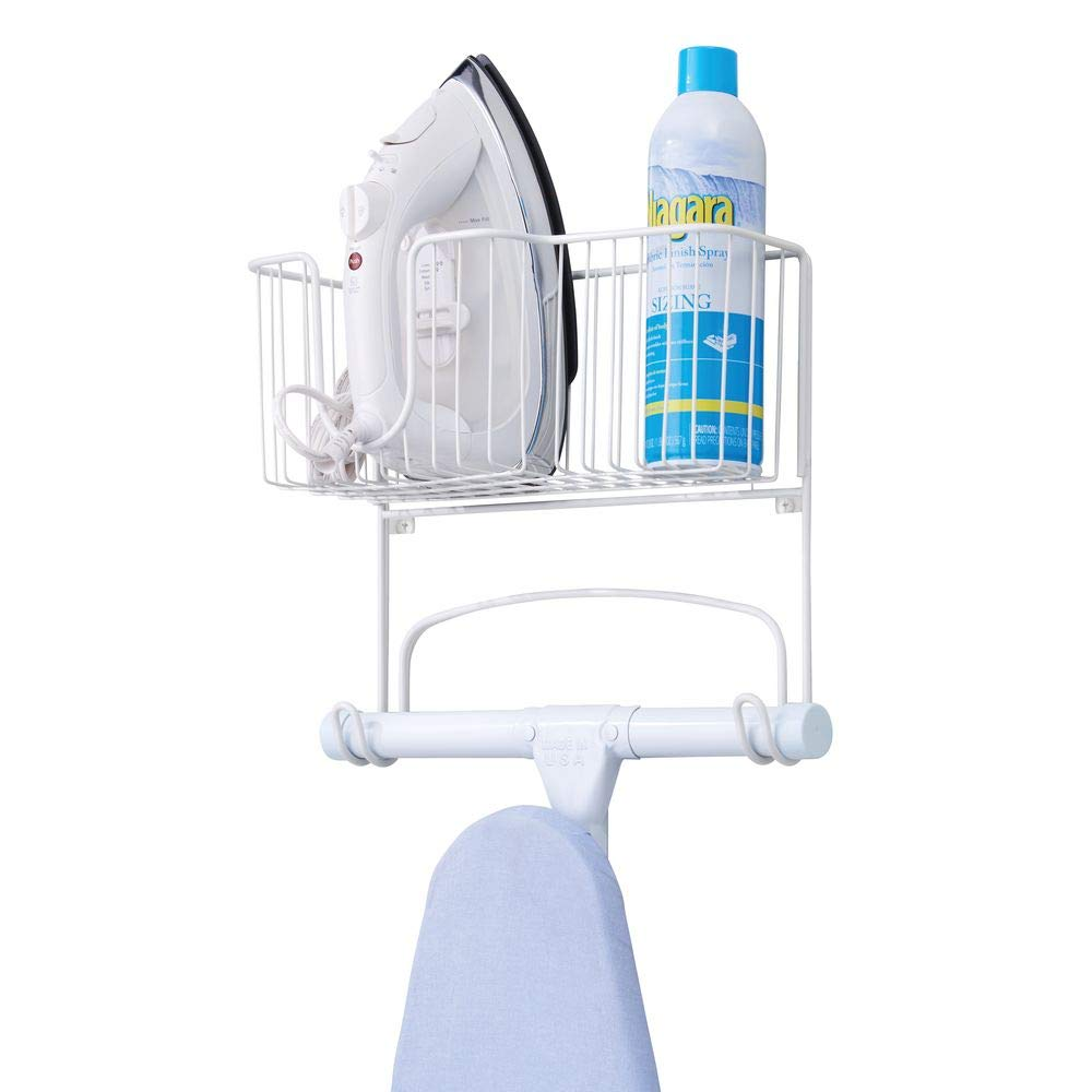 mDesign Metal Wall Mount Ironing Board Holder with Large Storage Basket - Holds Iron, Board, Spray Bottles, Starch, Fabric Refresher for Laundry Rooms - White by mDesign