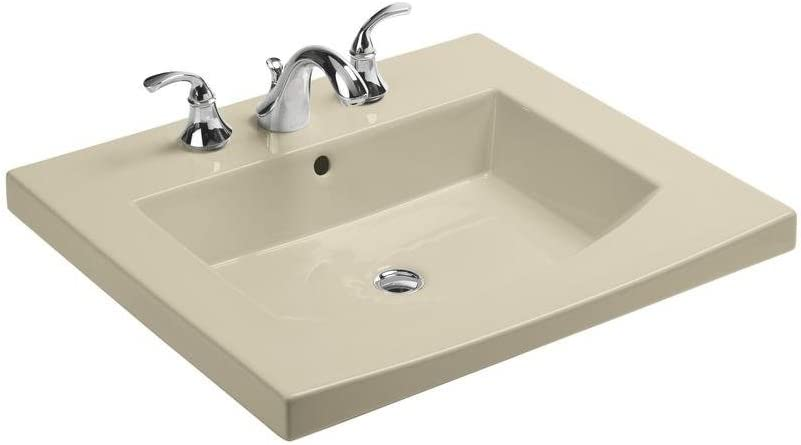 KOHLER K-2956-8-47 Persuade Curve Top and Basin Bathroom Sink with 8-Inch Centers Almond