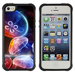 Hybrid Anti-Shock Defend Case for Apple iPhone 4s 4s Colorful Jellyfish