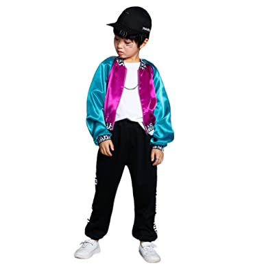52a2ec225384 Amazon.com  Kids Boys Girls Street Dance Costumes Hiphop Clothing ...
