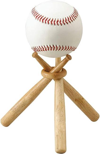 Maitys 2 Sets Wooden Baseball Stand Display Holder Includes 6 Mini Baseball 2