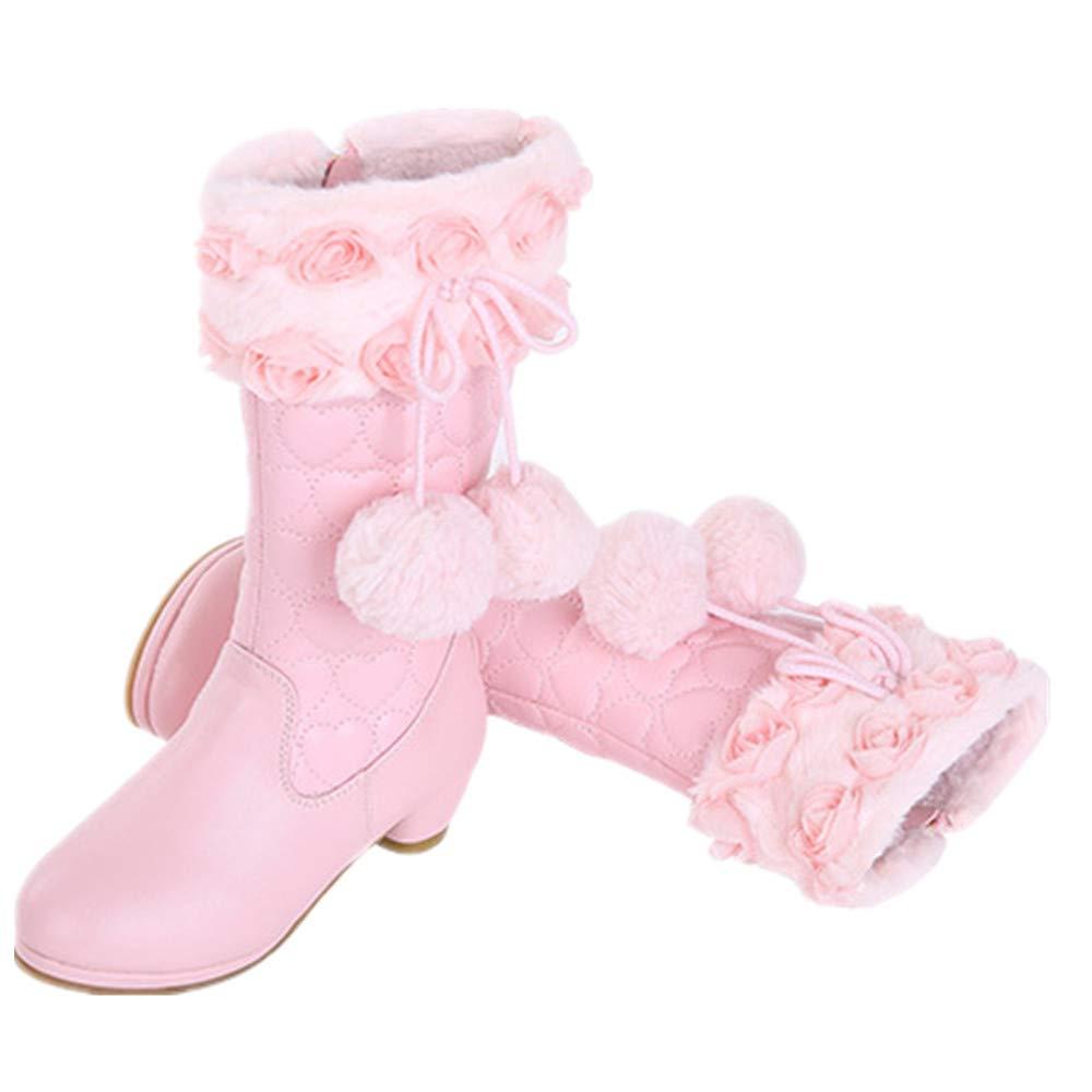 Knight Cute Fur Ball Boots Bloossom Girls Princess Boots