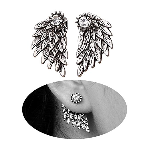 MUZHE Gothic Angel Wing Stud Earrings for Women Front Back Ear Wrap Pin Vine Crystal Charm Jewelry ()