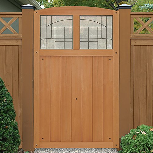 """Yardistry YP11820 Gate with Faux Glass Inserts, 42"""" x 68"""" Amber"""
