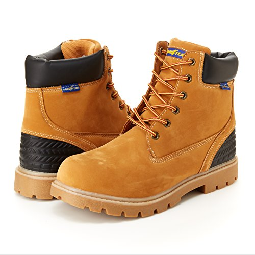 Goodyear Maverik Mens Work Boots - Memory Foam Foot Bed, Slip & Oil Resistant Wheat