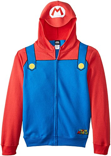 Nintendo Mario Brothers Bill Men's Red Zip-Up Costume Hoodie-Blue/Red-Small (Mario Bros Bowser Costume)