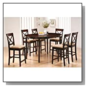 7pc Counter Height Dining Table & Stools Set Cappuccino Finish