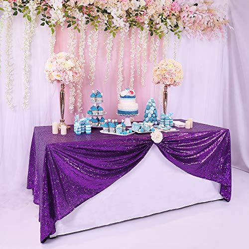 BalsaCircle TRLYC Sequin Rectangular Purple Sequin Tablecloth 60-Inch by 102-Inch