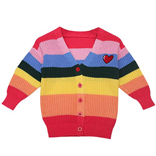Fheaven Kids Baby Girls Boys Color Blcok Sweater Coat Long Sleeve Rainbow Striped Knitted Tops Sweater Outfits (3-4Years, Red)]()
